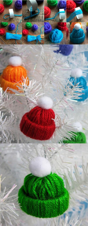 Mažos kalėdinės kepurėlės, dekoracijos